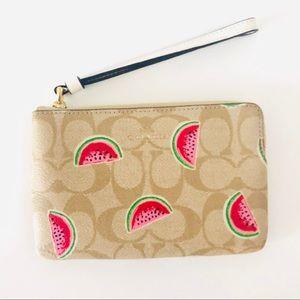 Coach Corner Zip Wristlet Watermelon Wallet